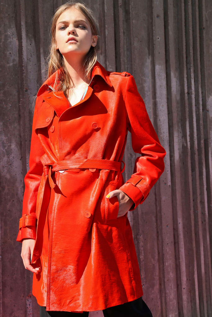 BLOOD-ORANGE CALFSKIN LEATHER TRENCH COAT