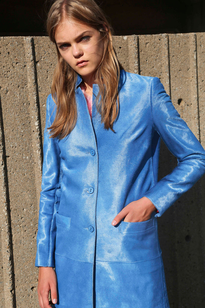 BLUE CALFSKIN LEATHER CAR COAT