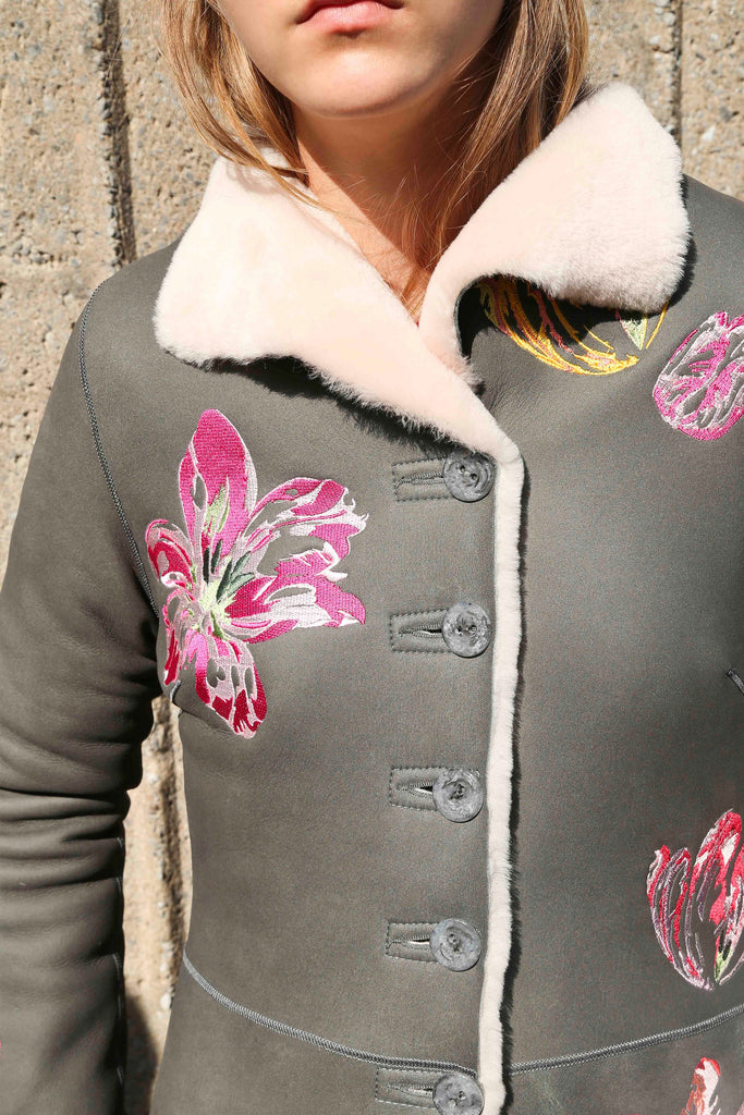 TULIP EMBROIDERED MERINO SHEARLING COAT