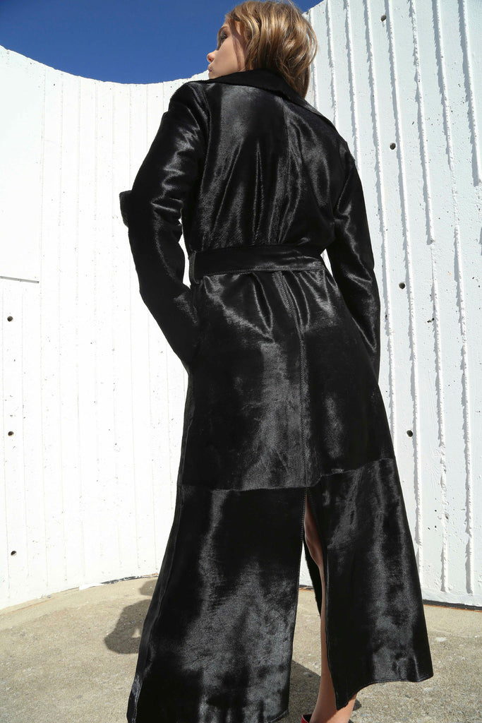 BLACK CALFSKIN LEATHER LONG TRENCH COAT