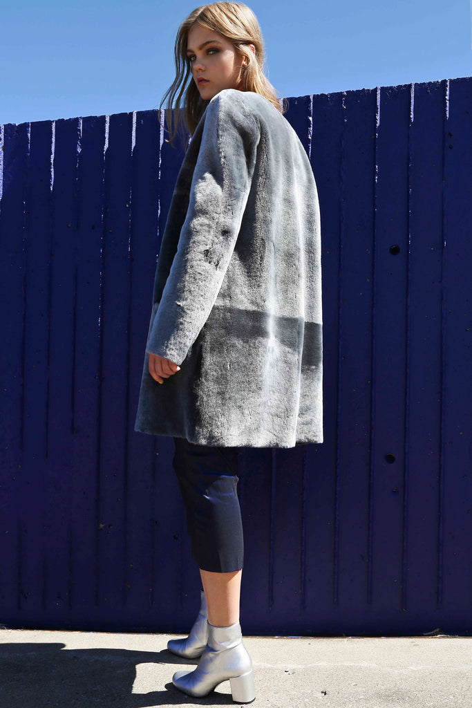 GREY MERINO SHEARLING REVERSIBLE COAT