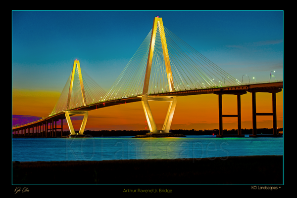 The SouthEast / Arthur Ravnel Jr Bridge, Sunset, Charleston, South Carolina, historic, water, Dusk, Blue, Orange, Yellow, Red, Nighty, Lit