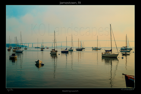 Jamestown, RI, New England .. archival ..  sailboats, Awaiting Launch, Hazy, Fog