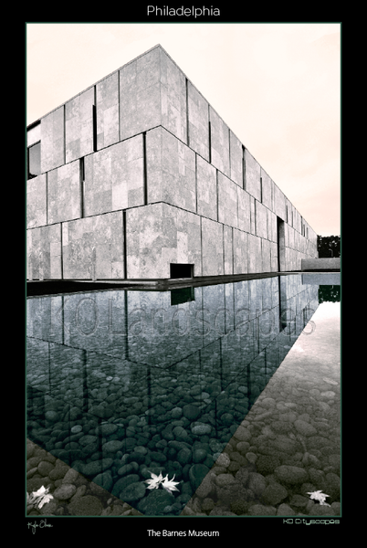 Philadelphia Pa, Barnes Museum, Ben Franklin Parkway, Reflection, B&W, Blue, Grey, Entrance