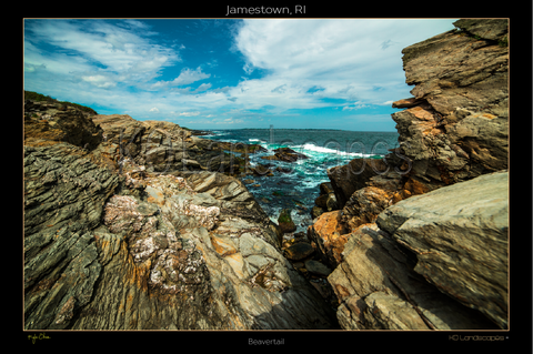 Jamestown, RI, New England .. archival .. sailboats, Beavertail Lighthouse, Rocks, Blue Sky