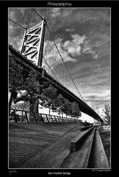 Philadelphia Pa, Race Street Pier, ben Franklin Bridge, Clouds, Delaware River, B&W, Black and White, Park, Steps