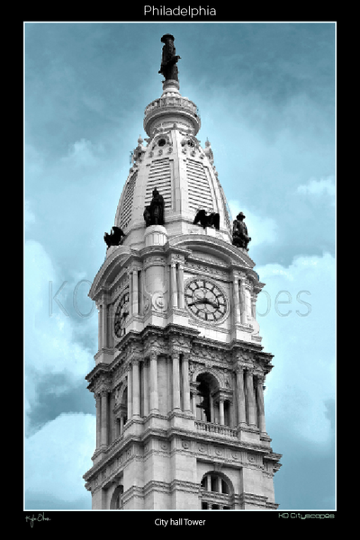 Philadelphia Pa, City Hall, B&W, Blue, Grey, Office Buildings, Broad Street, Market Street, Intersection, Blue, Billy Penn, Clock Tower Statue, Clouds, Looking Up
