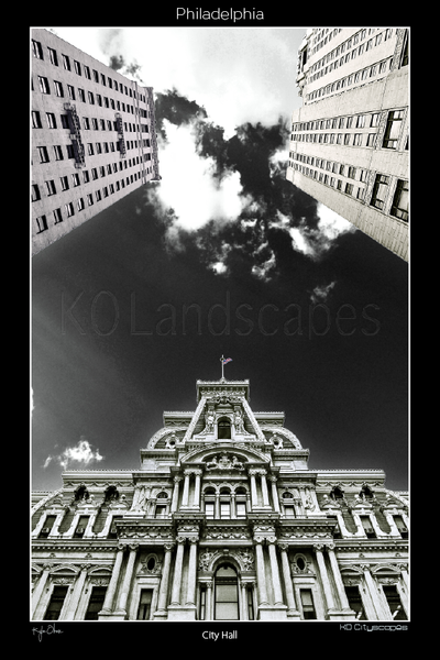 Philadelphia Pa, City Hall, B&W, Blue, Grey, Office Buildings, Broad Street, Market Street, Intersection, Clouds, Looking Up