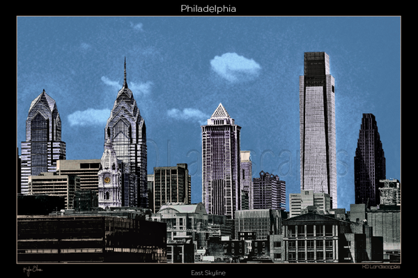 Philadelphia Pa, City Hall, B&W, Blue, Grey, Office Buildings, Liberty Tower, Comcast Tower, East View,