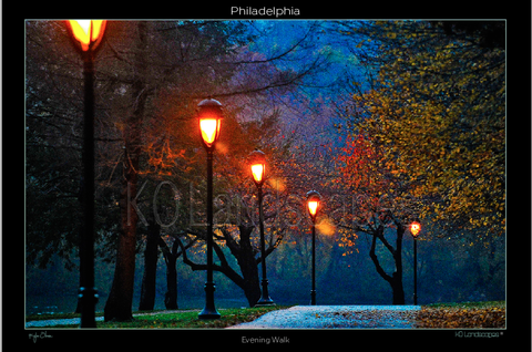 Philadelphia Pa, Fairmount Park, Evening Walk, Kelley Drive, Street Lights, Dusk, Sunset, Autumn, Fall, Evening