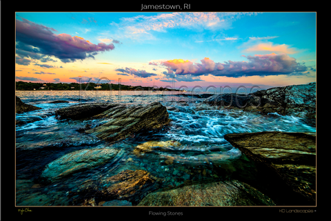 Jamestown, RI, New England .. archival ..  Flowing Stones, Water, Sunset, Blue Sky, Pink, Purple,