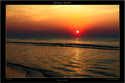 Jersey Shore .. Halo Sunrise, Orange, Red, yellow, Ocean, Water, , Beach