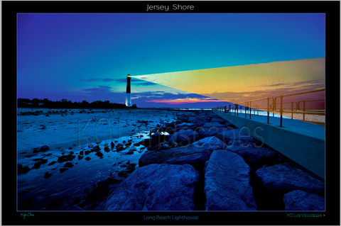Jersey Shore .. LBI Lighthouse, Sunrise, Sunset, Beam, Beacon, Orange, Red, yellow, Blue, Ocean, Water, , Beach, Rocks, Boulders, Path