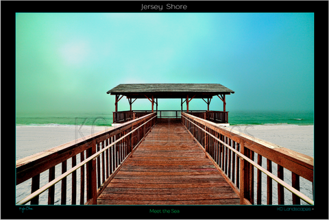 Jersey Shore .. Meet the Sea, Sunrise, Sunset, yellow, Blue, Green, Wood, Boardwalk, Sea, Ocean, Water, Beach, Path, bridge