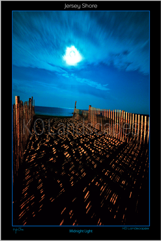 Jersey Shore .. Midnight Light Sunset, Moonbeam, fence, night Beacon, Blue, Ocean, Water, , Beach, Path