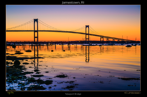 Jamestown, RI, New England .. archival .. Newport Bridge, Sunrise, Sunset, Reflection, Purple, Orange, Black