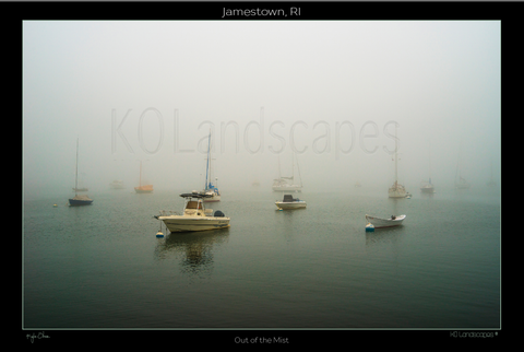 Jamestown, RI, New England .. archival .. Out of the Mist, Grey, Misty, Sailboats, fog