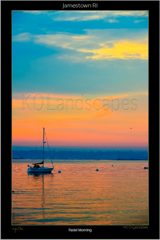 Jamestown, RI, New England .. archival .. Pastel Sunrise, Reflection, Pink, Blue, Yellow, Sailboat