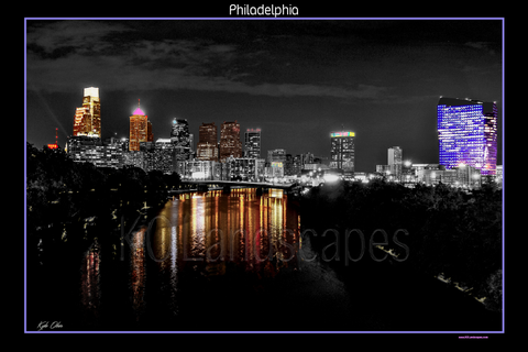 Philadelphia Pa., Cityscape, Skyline, Spring Garden Bridge, City View, PECO, Cira Centre, Liberty Tower, City Hall, Schuylkill River, Park, Highway, Reflection, Tint, B&W