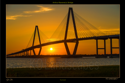 The SouthEast / Arthur Ravnel Jr Bridge, Sunset, Charleston, South Carolina, historic, water, sun, Yellow, Black, Cloud silhouette