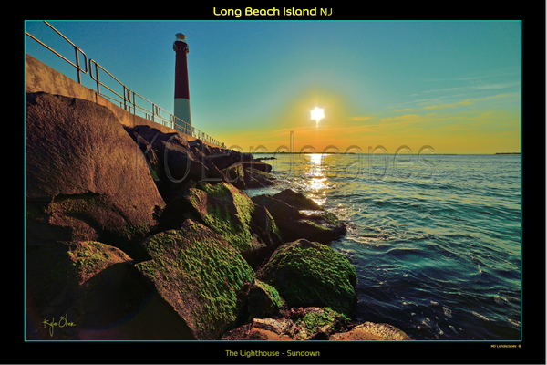 Jersey Shore .. LBI Lighthouse, Sunrise, Sunset, Sundown, Beam, Beacon, Moss, Orange, Red, yellow, Blue, Ocean, Water, , Beach, Rocks, Boulders, Path
