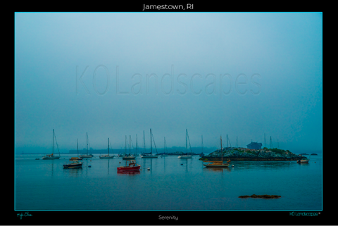 Jamestown, RI, New England .. archival .. Serenity, Blue, Sailboats, Island