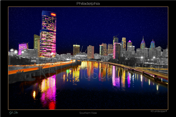Philadelphia Pa., Cityscape, Skyline, South Street Bridge, City View, PECO, Cira Centre, Liberty Tower, City Hall, Landscape, B&W, Reflection, Tint, Schuylkill River FMC Building, Tower