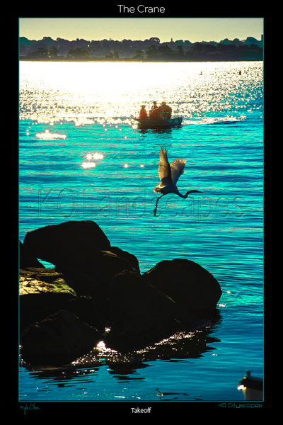 Jamestown, RI, New England .. archival .. fly, heron, Rock, Boat, Blue, peir, Sunrise, morning, Takeoff