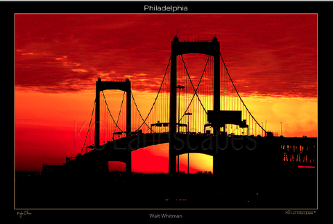 Philadelphia Pa., Landscape, Cityscape, The Walt Whitman Bridge, Sunrise, Sunset, Red, Orange, Black, Silhouette, water, Landmark, Ship,