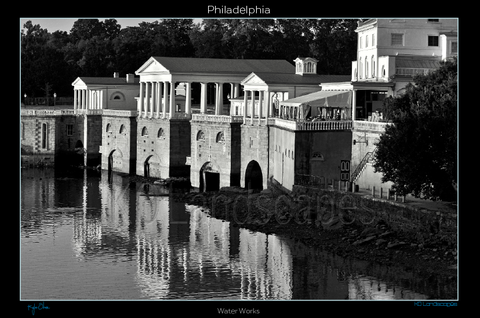 Philadelphia Pa., Museum Row, Ben Franklin Parkway, Sculpter, Statue, water, tint, Philadelphia Art Museum, The Waterworks, Landmark, Columns, Parthenon, Schuylkill River, Replica, Park