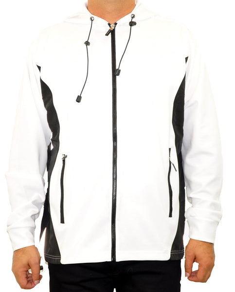 Hooded Full Zip Top - White