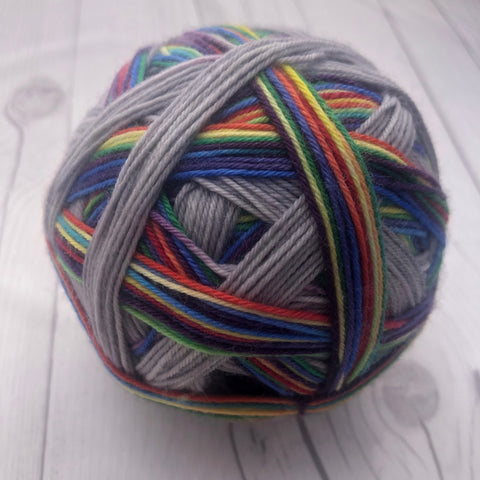 "Stripes- ""Rainbow Interrupted"" Self-Striping Sock yarn"