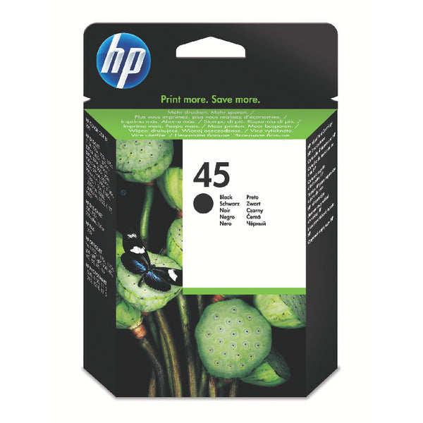 HP No.45 Black Ink Cartridge - 42ml - 883 pages - Out Of Ink
