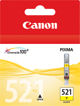 Canon CLI-521Y Yellow Ink Tank - 477 pages - Out Of Ink