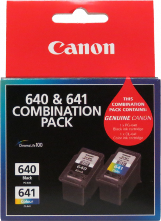 Canon PG640. 641 Black and Colour Ink Cartridge - 180 pages each - Out Of Ink