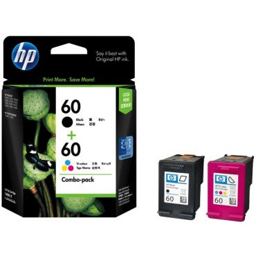 HP No.60 Black and Colour ink Cartridge - Black, 200 pages Colour, 165 pages - Out Of Ink