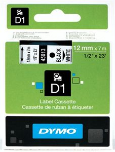 Dymo Black on White 12mmx7m Tape - Out Of Ink