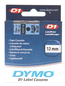 Dymo Black on Blue 12mmx7m Tape - Out Of Ink