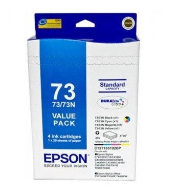 "Epson 73N Ink Value Pack 4 inks and 20 sheets 4"" x 6"" photo paper - Out Of Ink"