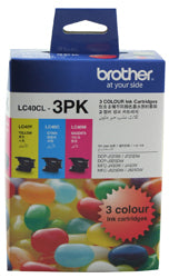 Brother LC-40CL3PK Cyan, Magenta & Yellow Colour Pack (300 pages each) - Out Of Ink
