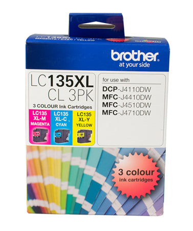 Brother LC135XL CMY Colour Pack - up to 1200 pages per colour - Out Of Ink