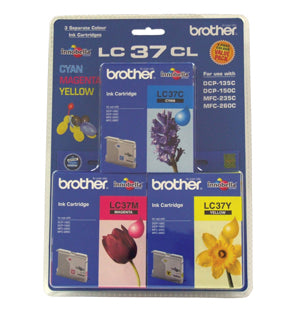 Brother LC-37 Cyan, Magenta & Yellow Colour Pack - 300 pages each - Out Of Ink