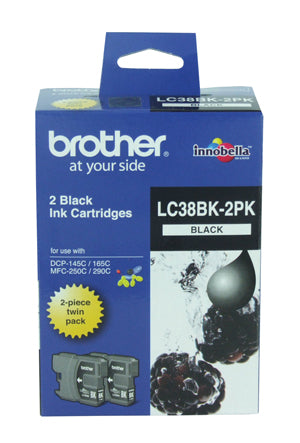 Brother LC-38BK Black Ink Cartridge - Twin pack 300 pages each - Out Of Ink