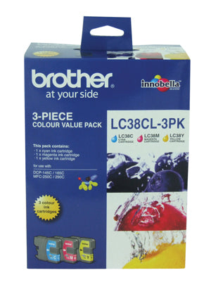 Brother LC-38CL3PK Cyan, Magenta & Yellow Colour Pack - 260 pages each - Out Of Ink