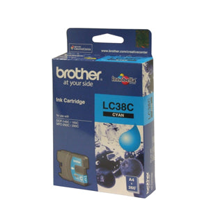 Brother LC-38C Cyan Ink Cartridge - 260 pages - Out Of Ink