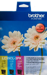 Brother LC-39CL3PK Cyan, Magenta & Yellow Colour Pack (260 pages each) - Out Of Ink