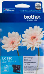 Brother LC-39C Cyan Ink Cartridge (260 pages) - Out Of Ink
