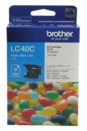 Brother LC-40C Cyan Ink Cartridge - 300 pages - Out Of Ink