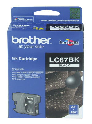 Brother LC-67BK Black Ink Cartridge - 450 pages - Out Of Ink