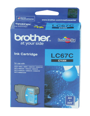 Brother LC-67C Cyan Ink Cartridge - 325 pages - Out Of Ink